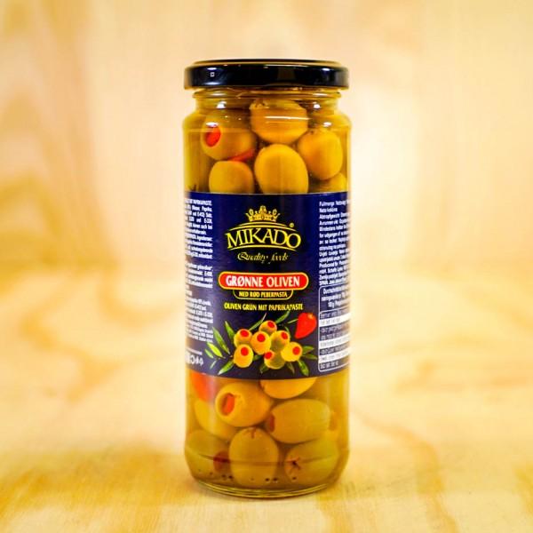 Oliven, grün, mit Paprika