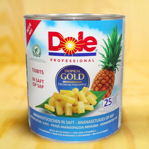 Ananas-Stücke, Tidbits, in Ananas Saft