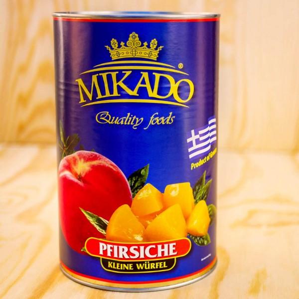 Pfirsiche, klein gewürfelt, leicht gezuckert