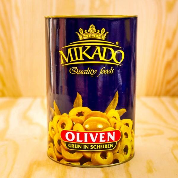Oliven, grün, in Scheiben